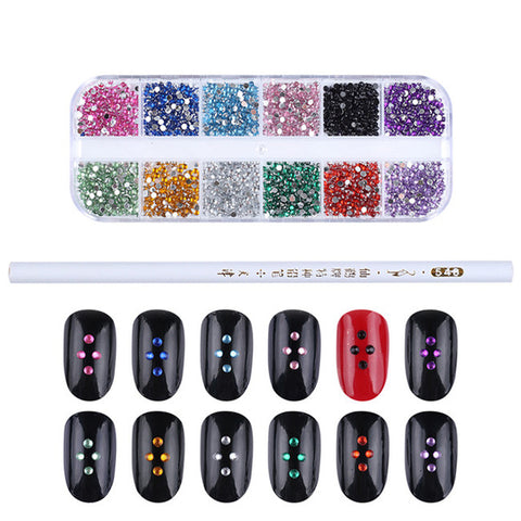 1 Box Black White Mixed Jelly Rhinestones 3D Nail Decoration With Dotting Pen Manicure DIY Nail Art Decoration Set