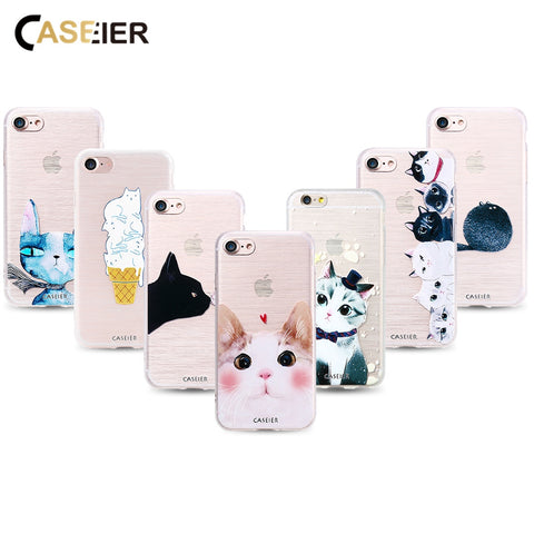 CASEIER Cat Phone Case For iPhone 7 8 Plus X 3D Relief Soft TPU Silicone Cover For iPhone 6 6s 5s Plus Patterned funda Capinha
