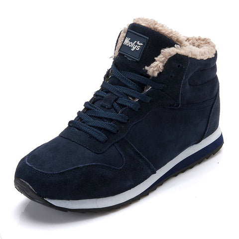 Shoes Sneakers Winter Men Casual Shoes Warm Fur Winter Shoes Men Shoes Flock Men Sneakers Black Plus Size Black