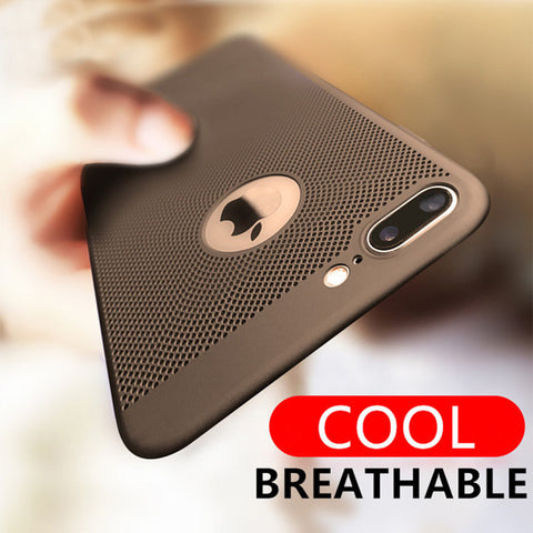 KISSCASE Heat Dissipation Case For iPhone X 7 6 6S Plus 5 5S SE Cool Hollow Mesh Cases For iPhone X 7 6 6s Plus 5 5S Back Cover