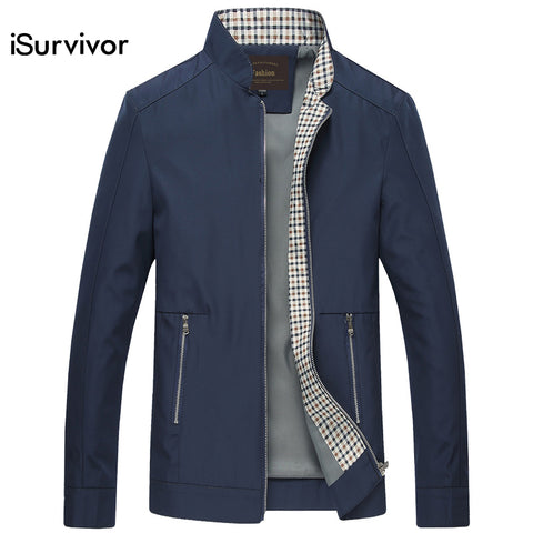 iSurvivor 2018 Men Autumn Jackets and Coats Jaqueta Masculina Male Causal Fashion Slim Fitted Large Size Zipper Jackets Hombre