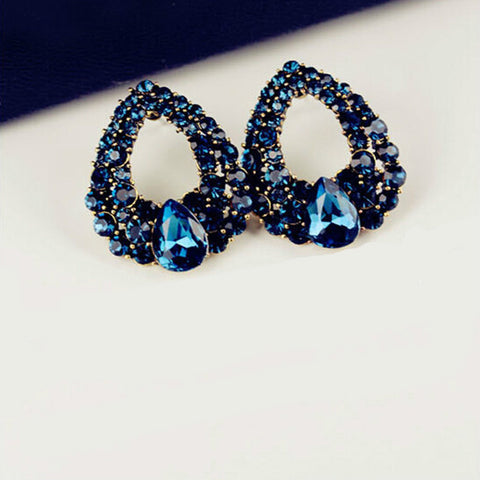 2018 High Quality New Full Blue Rhinestones Water Drop Shape Wedding Women Stud Earrings Girl Earrings For Women Free Shipping