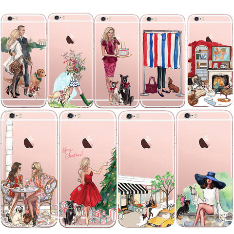 For Iphone 7 plus Fashion Lovely Dog Girl Shopping Case Transparent Silicone Phone Back Capa For Iphone 8 Plus / 7plus 5.5""