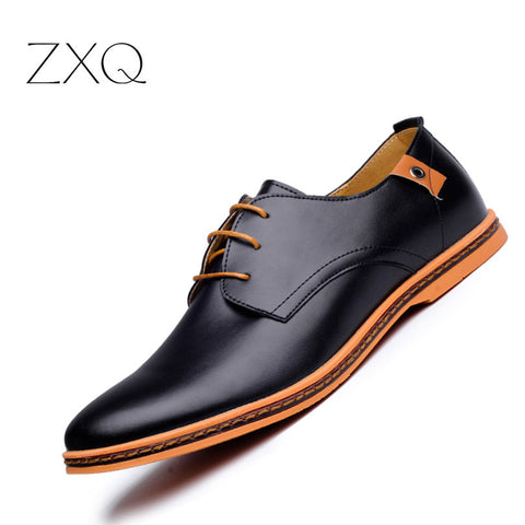 2018 Leather Casual Men Shoes Fashion Men Flats Round Toe Comfortable Office Men Dress Shoes Plus Size 38-48