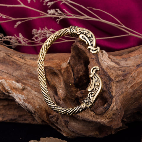 Dawapara Crow Bracelets For Man Accessories Screw Nail Bangle Punk Gothic Charm Knot Viking Bracelet Men Gold-color Jewelry