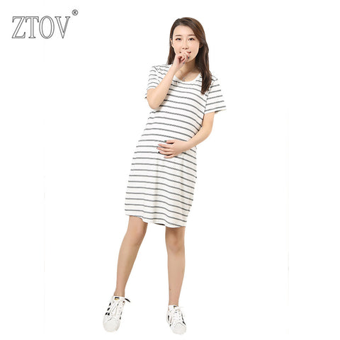 1b376256a96 ZTOV Long Stripes Maternity Dresses Clothing for Pregnant Women Plus size Pregnancy  dress Clothes Mother Home ...