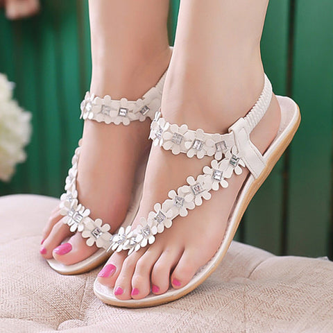 Women Sandals Summer Women Shoes Fashion Flower Women Flats Sandals Elastic Strap Flat Shoes Women