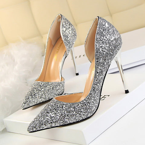 LAKESHI Women Pumps Bling High Heel Women Shoes Glitter Extrem High Heels Sexy Shoes Woman Wedding Shoes Gold Ladies Shoes