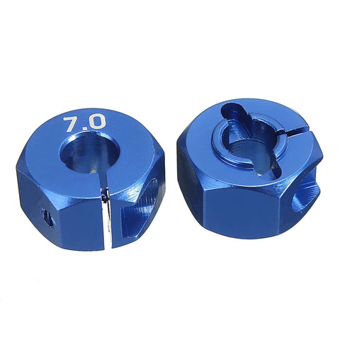 RC Blue Aluminum Alloy 7.0 Wheel Hex 12mm Drive 4P HSP HPI Tamiya Car Suit For All 1:10 RC Car Tire Parts Set