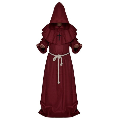 Medieval Priest Monk Robe Hooded Cap Halloween Cosplay Costume Cloak for Wizard Sorcerer - Size XL (Dark Red)