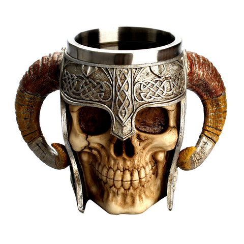 Stainless Steel Skull Coffee Drinking Cup Resin 3D Skull Tankard for Halloween Bar Party Horror Decor