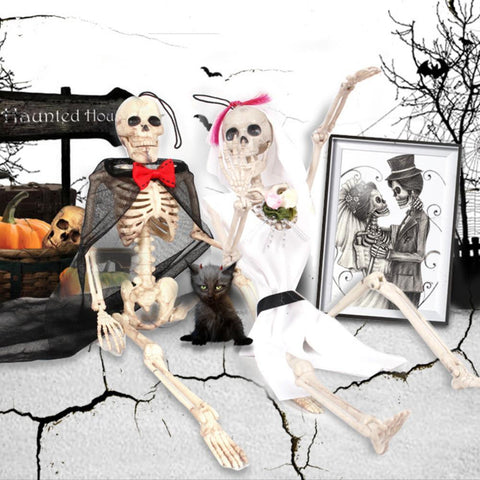 Halloween Skeleton Bride and Groom Plastic Lifelike Human Bones Skull Figurine for Halloween Decoration Horror April Fool's Day