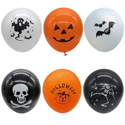 Halloween Latex Balloons Pumpkin Smiley Face Party Bat Skull Print Pirate Ship Ballons Halloween Party Decoration Supplies