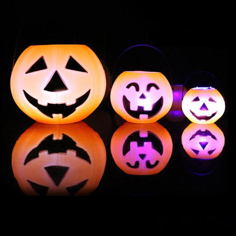 1Pcs 7cm/11cm/17cm Pumpkin Bucket Trick Or Treat Candy Bag LED Light Holder Halloween Party Decoration Festive Party Supplies