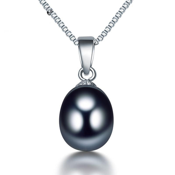 black natural pearl pendant necklace sterling silver