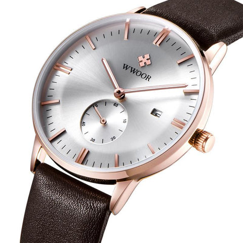 Luxury Ultra thin Leather Men Quartz Watch Rose Gold Casual
