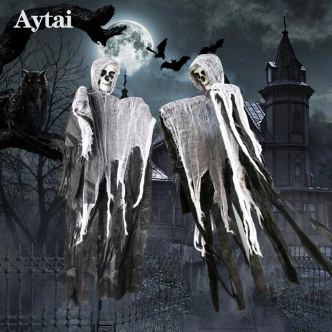 Aytai 100*60cm Halloween Hanging Ghost Witch Prisoner Grim Reaper Haunted House Escape Horror DIY Halloween Decorations Prop