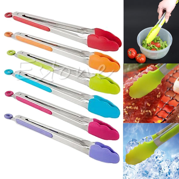 Silicone Kitchen Cooking Salad Serving BBQ Tongs Stainless Steel