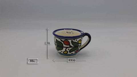 Ceramic Cup of Coffee Hebron Crafts Decorated With A Beautiful Multi-Colors Pattern