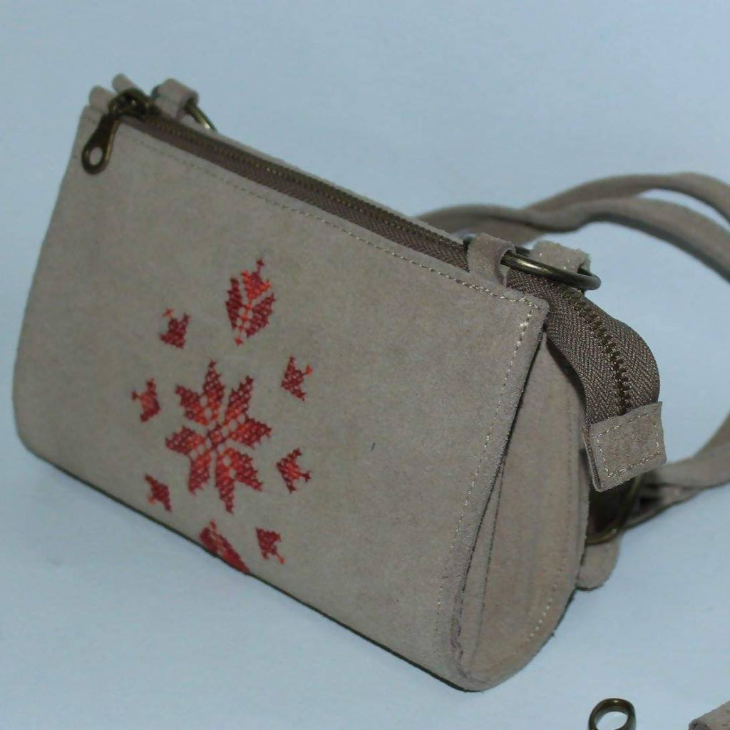 Fashion Women Handbags Zipper Sabaya Style (S) Natural Leather Embroidered  By Silk Thread Hand Made