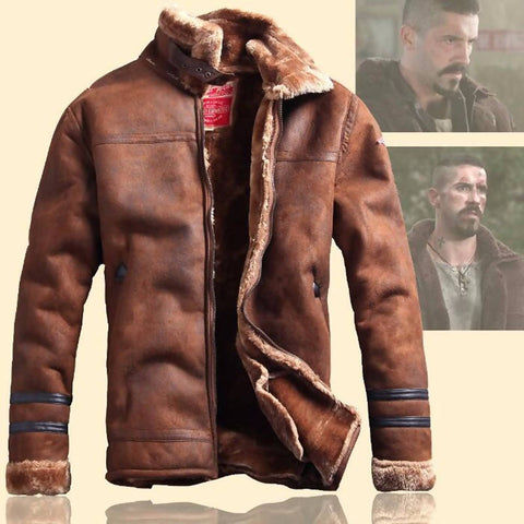 Russian Style Winter Mens Fur Fox Leather Jacket Casual Fashion Streewear Mens Faux Fur Leather Jackets Overcoat Velvet