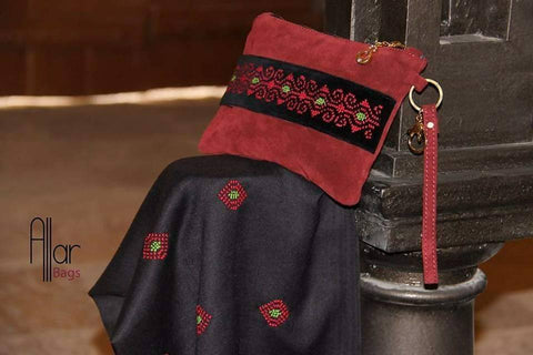 Fashion Women Hand Bags Zipper CROSS BAG Dark Red natural leather combine with cotton velvet materials embroidered by silk thread handmade Palestinian embroidery