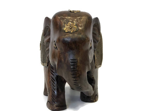 GREAT WOODEN CARVED Yellow copper one ELEPHANTS 17 CM ORNAMENT 524 g Home Decoration