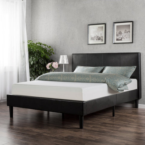 Zinus Memory Foam 10 Inch Mattress and Faux Leather Platform Bed Set, Queen