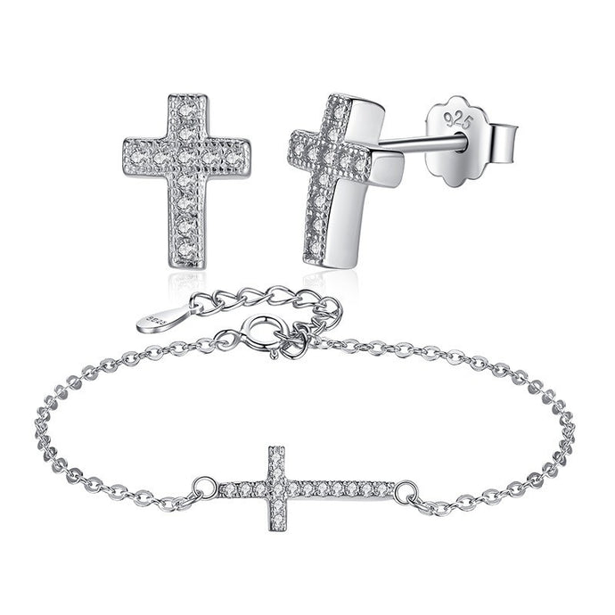 925 Sterling Silver Holy Cross Bracelet and Earring Set