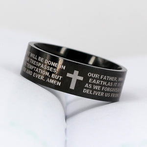 316L Stainless Steel Lord's Prayer Ring