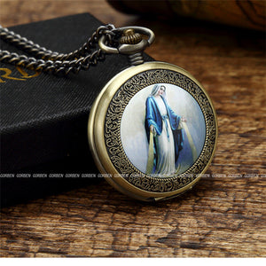 Quartz Blessed Mary Pocket Watch