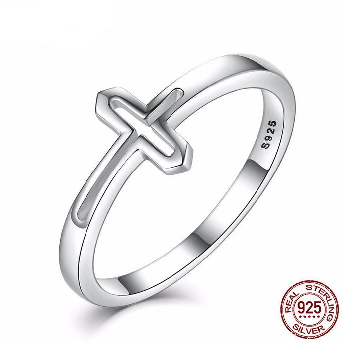 925 Sterling Silver Raised Cross Rings