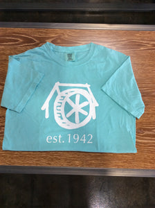 "Mtn Brook Aqua Comfort Colors T-Shirt with Old Mil and ""est.1942"""