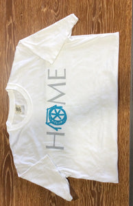 "Mtn Brook White Comfort Colors T-Shirt with ""HOME"" Old Mill"