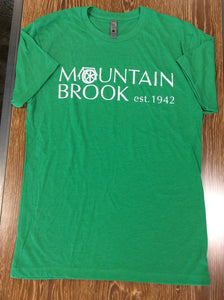 Mtn Brook Next Level Green T-Shirt with Mountain Brook est. 1942 in white