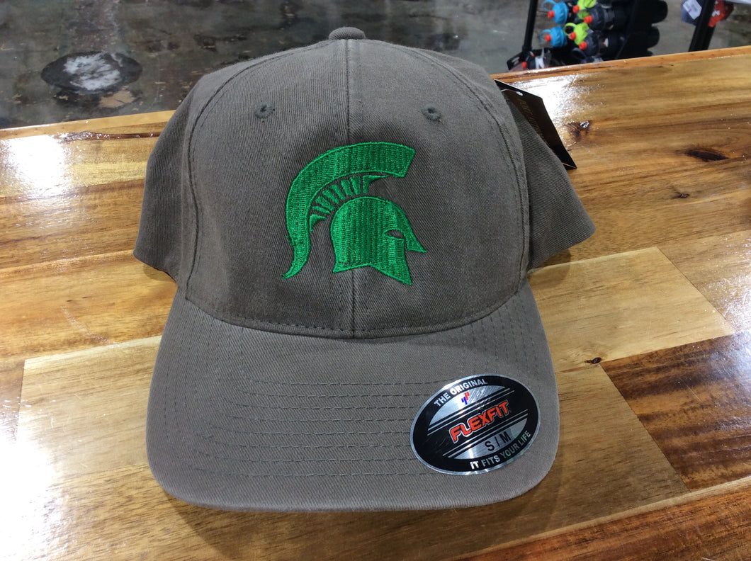 *Port Authority Olive Flexfit Hat with Green Spartan Head
