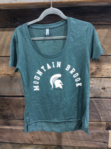 *Spartan Pride Heather Green high-low t-shirt with white spartan head and lettering