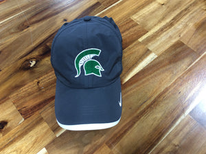 *Spartan Pride Gray Nike Golf Hat with Green/White Spartan Head