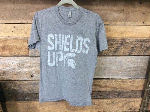 *Spartan Pride Gray Shields Up Adult T-Shirt