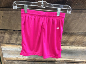 "Badger Bright Pink  Shorts Girls 4"" inseam"