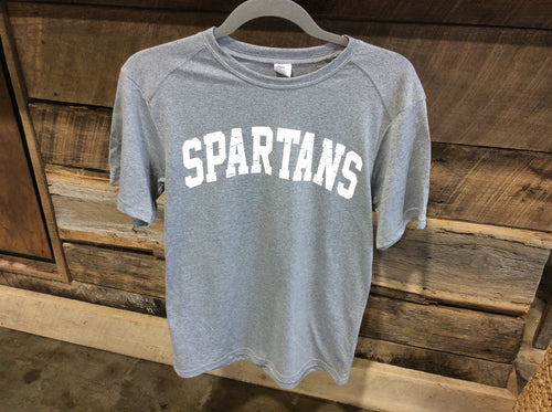 *Paragon Gray Performance T Shirt with Spartans in White