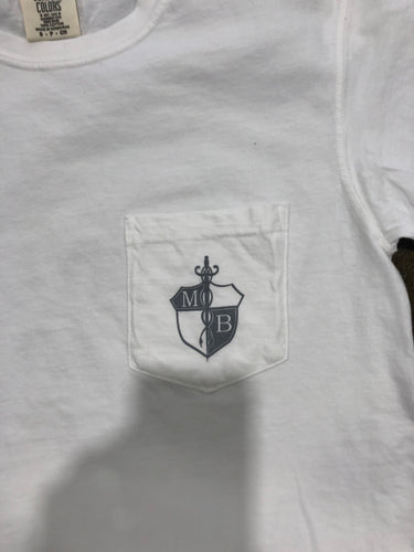 MB Crest Adult S/S Pocket Tee Comfort Colors White