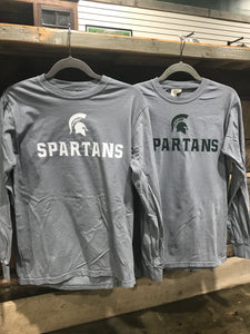 Comfort Colors adult gray long sleeve Spartans tee