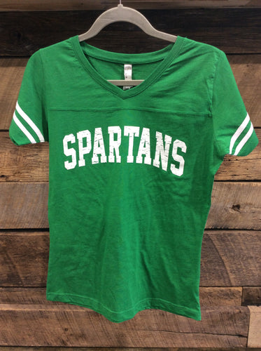 *Spartan Pride Women's Green Varsity V Neck T-Shirt