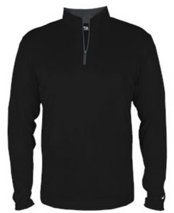 Badger Quarter Zip Youth Pullover- Black