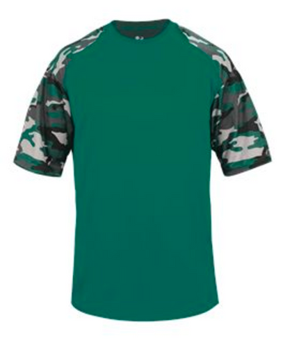 Badger Youth Camo Sport Tee - Green