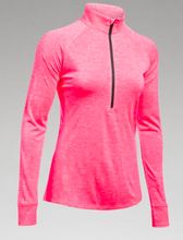 UA Womens Tech 1/2 Zip-Twist- HEATHERED PINK