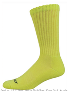 Pro Feet Neon Crew Socks - Safety Yellow