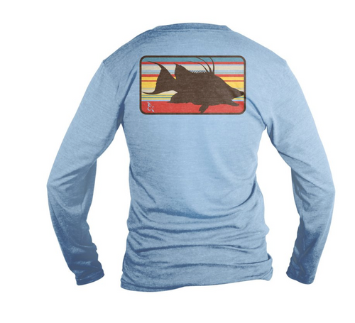 Covey and Paddle Long Sleeve Sun Shirt - Blue Hogfish
