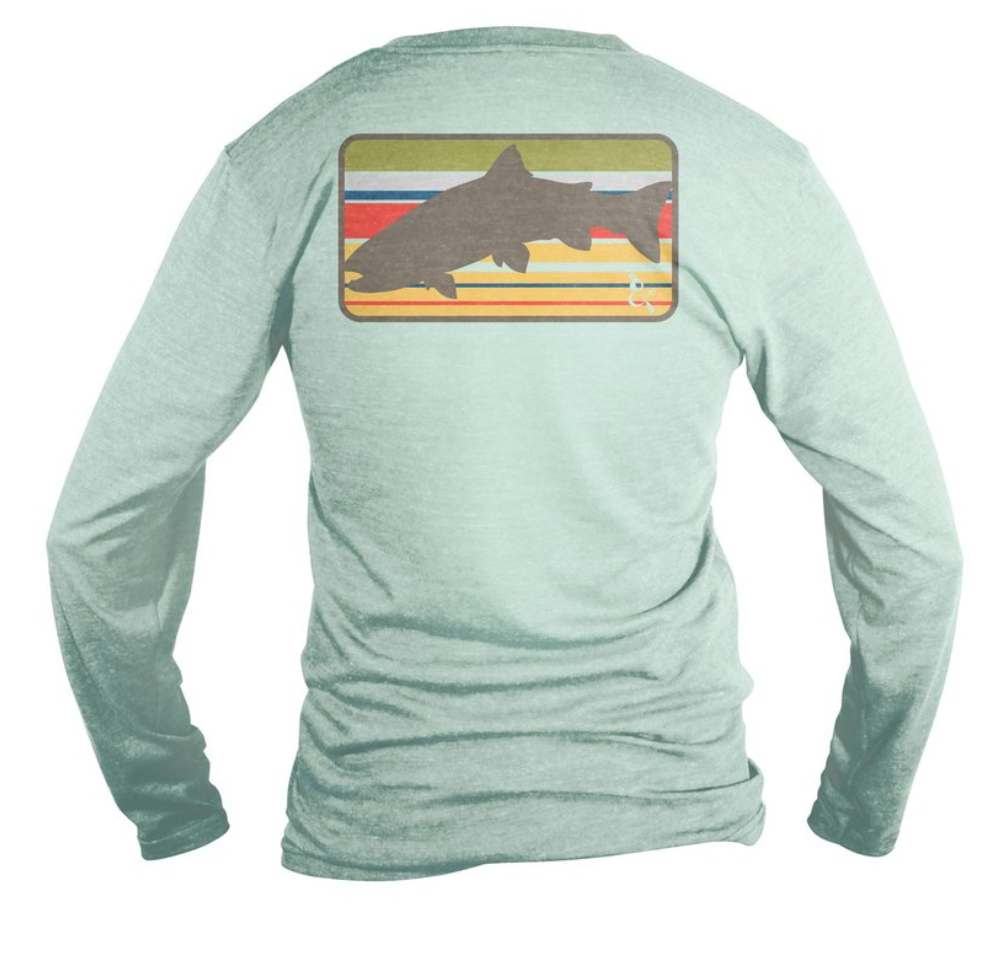 Covey and Paddle Long Sleeve Sun Shirt - Blue Trout Flag